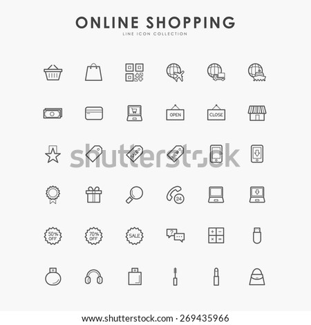 6x6 online shopping line icons - stock vector