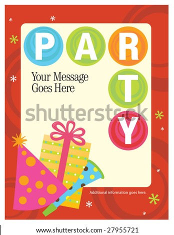 8.5x11 Party Flyer/Poster Template - stock vector