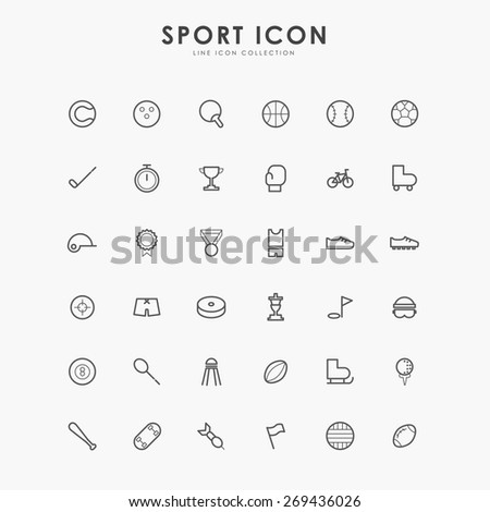6x6 sport line icons - stock vector