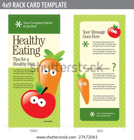 4x9 Two Sided Rack Card (includes crop marks, bleeds and key line - elements in layers) - stock vector