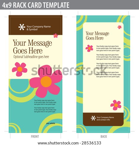 X Rack Card Brochure Template Includes Stock Vector