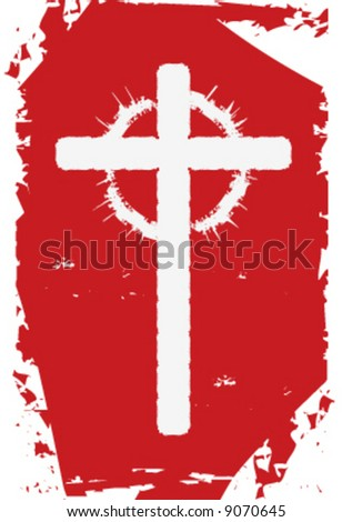 4x6 vector Christian cross with thorns