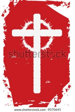 4x6 vector Christian cross with thorns - stock vector