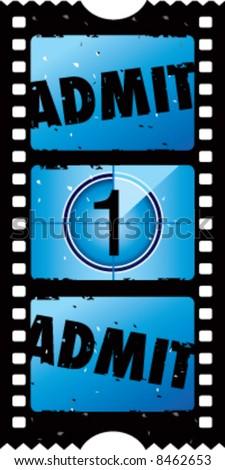 2x1 vector grunge admit one movie ticket - stock vector