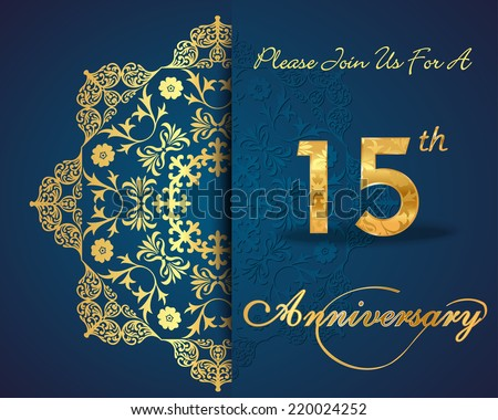 15 year anniversary celebration pattern design, 15th anniversary decorative Floral elements, ornate background, invitation card - vector eps10 - stock vector