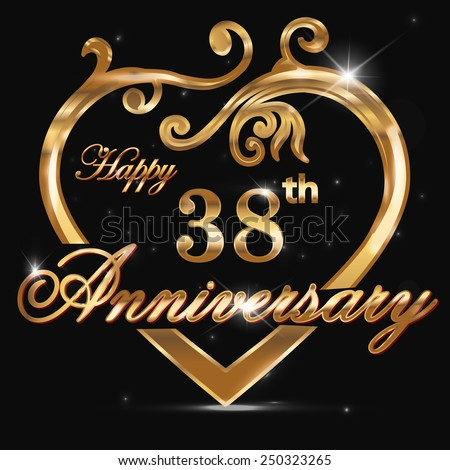 38 Year Anniversary Golden Heart 38th Stock Photo Photo Vector