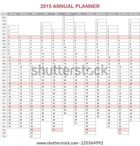 2015 year annual planner. European calendar - stock vector