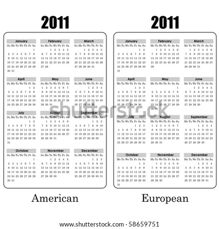 2011 year calendar black and white template. American and European variants. - stock vector