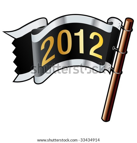 2012 year calendar icon on black, silver, and gold vector flag good for use on websites, in print, or on promotional materials