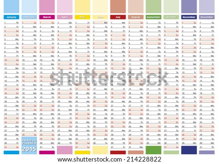 2015 Year calendar in english. Annual planner for year 2015. - stock vector