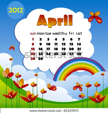 2012 year calendar in vector. April - stock vector
