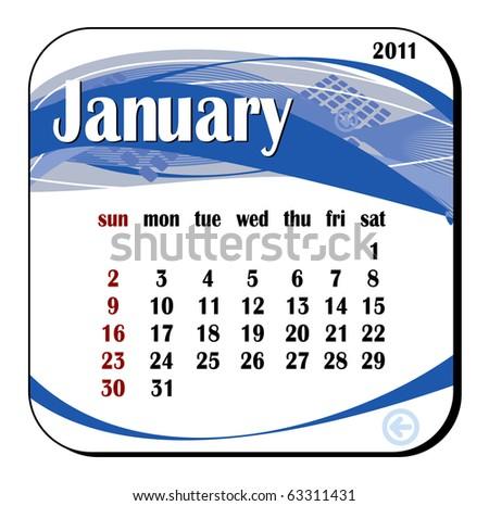 2011 year calendar in vector. January - stock vector
