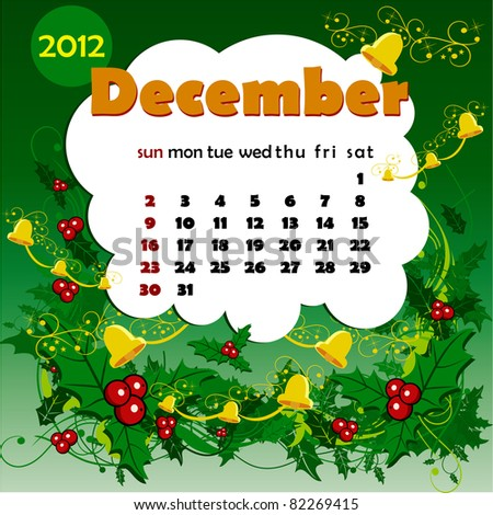 2012 year calendar in vector. January - stock vector
