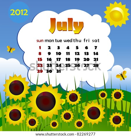 2012 year calendar in vector. July - stock vector