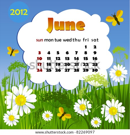 2012 year calendar in vector. June - stock vector