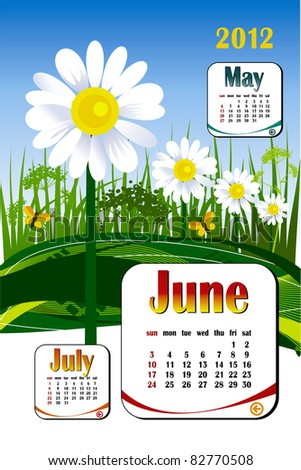 2012 year calendar in vector. June with flower icon - stock vector