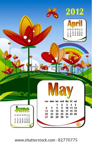 2012 year calendar in vector. May with flower icon - stock vector
