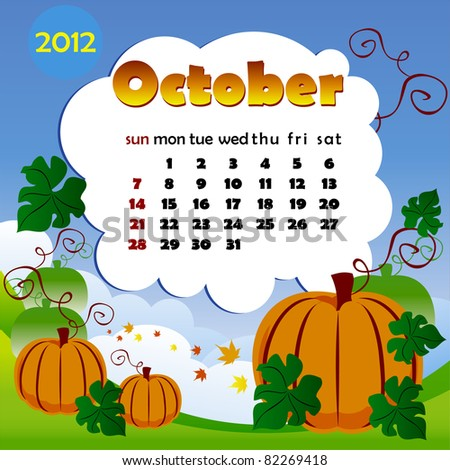 2012 year calendar in vector. October - stock vector