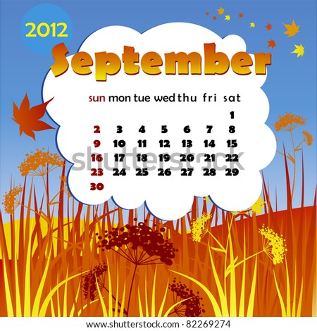 2012 year calendar in vector. September - stock vector