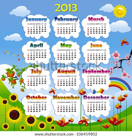 2013 year calendar in vector with poster
