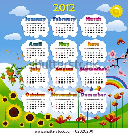 2012 year calendar in vector with poster - stock vector