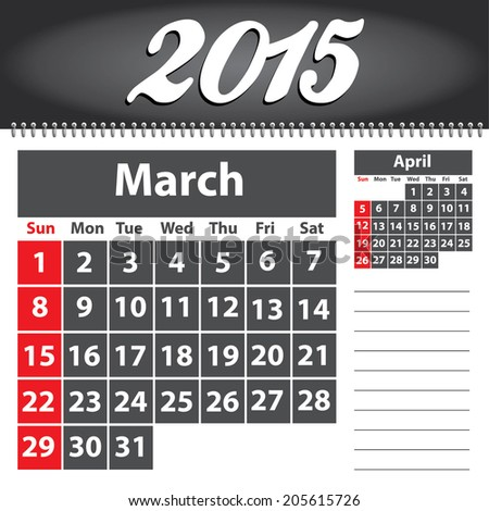 2015 year calendar - March - Weeks start on Sunday