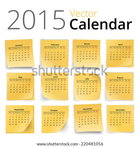 2015 year calendar on yellow stick notes isolated on white background, vector illustration - stock vector