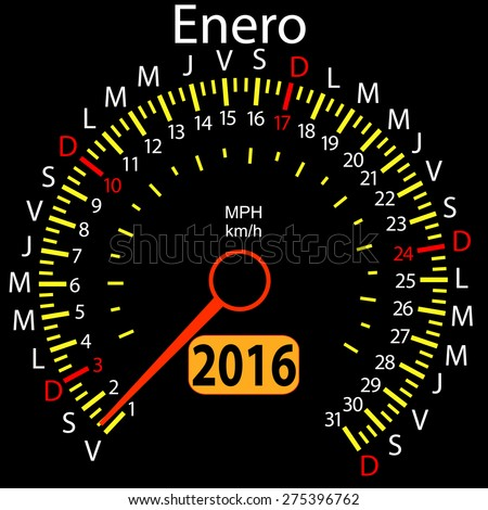 2016 year calendar speedometer car in Spanish, January. Vector illustration. - stock vector