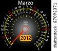 2012 year calendar speedometer car in Spanish. March - stock vector