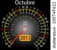 2013 year calendar speedometer car in Spanish. October - stock vector