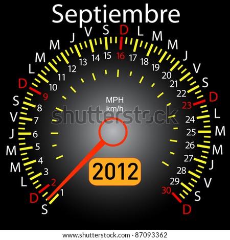2012 year calendar speedometer car in Spanish. September - stock vector