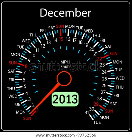 2013 year calendar speedometer car in vector. December. - stock vector