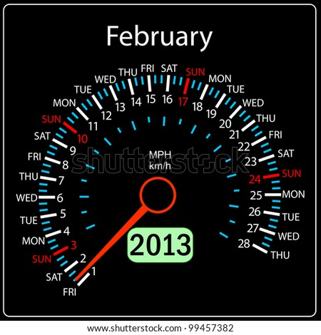 2013 year calendar speedometer car in vector. February. - stock vector