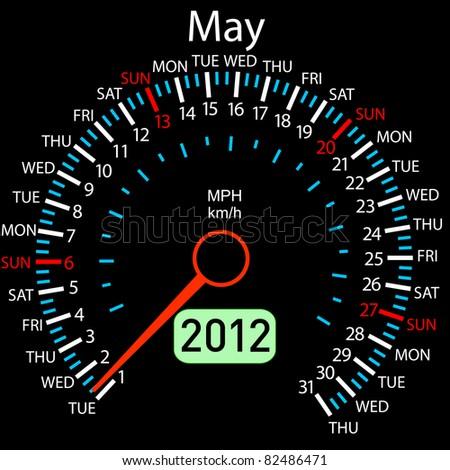 2012 year Calendar speedometer car in vector. May. - stock vector
