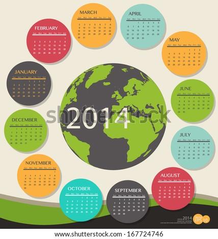 2014 year calendar, vector illustration. - stock vector