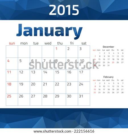 2015 year calendar.  Weeks start on Sunday. - stock vector