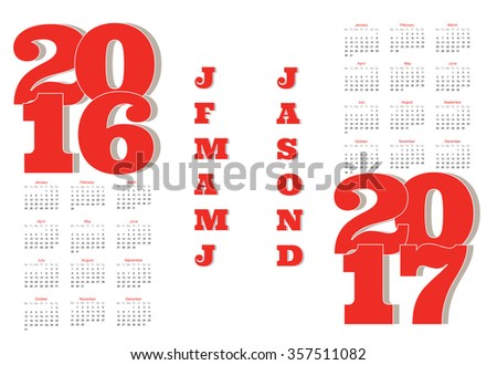 2 year calendars for 2016 & 2017 - stock vector