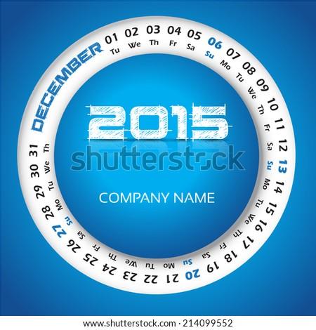 2015 year circular calendar for business wall calendar and business card. December - stock vector