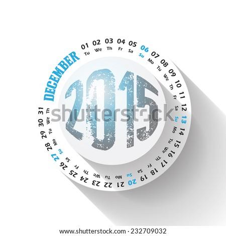 2015 year circular calendar for business wall calendar on white background. December - stock vector
