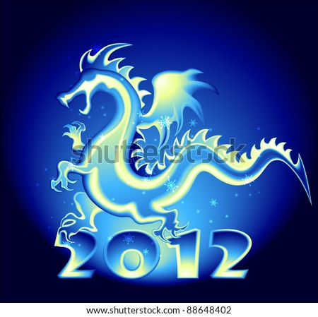 2012 year design with a Dragon - stock vector
