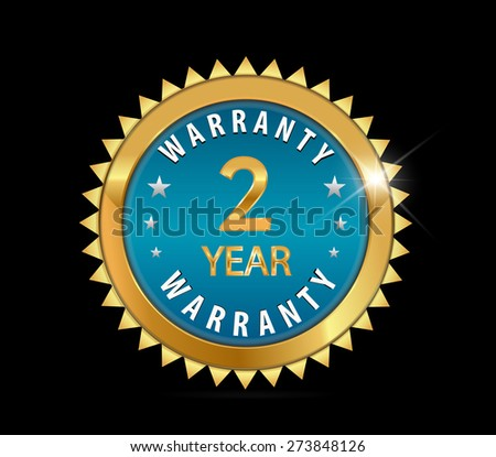 2 year golden blue metallic one year, 2 year warranty badge - vector eps10 - stock vector