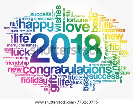2018 Year Greeting Word Cloud Collage Happy New Celebration Card