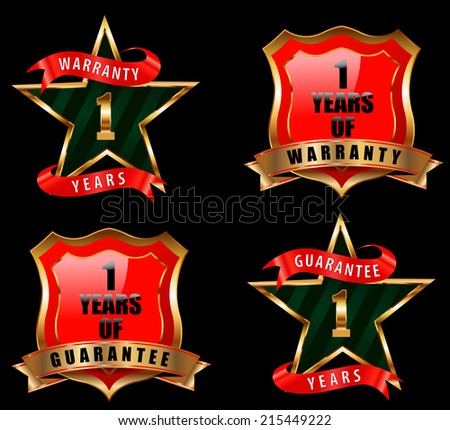 1 year guarantee and warranty badge, guarantee sign, warranty label - vector eps 10 - stock vector