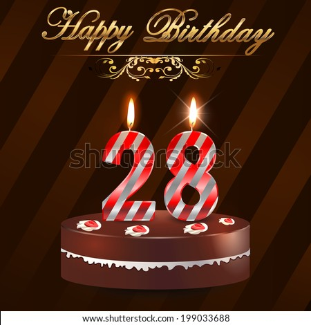 28 year happy birthday card cake stock vector hd royalty free 28 year happy birthday card with cake and candles 28th birthday vector eps10 bookmarktalkfo Gallery