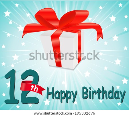 12 year Happy Birthday Card with gift and colorful background in vector EPS10 - stock vector