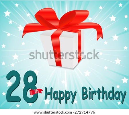 28 year Happy Birthday Card with gift and colorful background in vector EPS10 - stock vector
