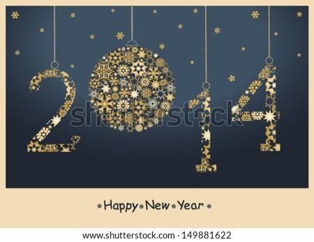 2014 year. Happy New Year greeting card from golden snowflakes. Vector - stock vector