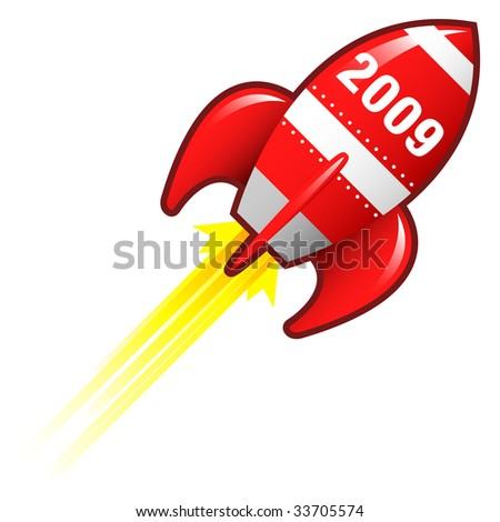 2009 year icon on red retro rocket ship illustration good for use as a button, in print materials, or in advertisements. - stock vector