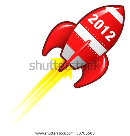 2012 year icon on red retro rocket ship illustration good for use as a button, in print materials, or in advertisements. - stock vector