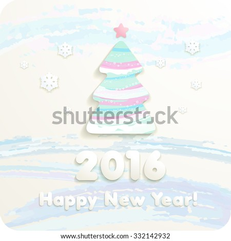 2016 year numbers, 3d Joyful cut paper Christmas tree and snowflakes. Pastels. Vector Eps 10. - stock vector